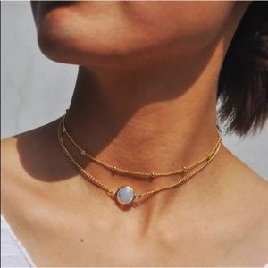 Jewelry - Rose Gold Opal Pendant Double Chain Boho Necklace